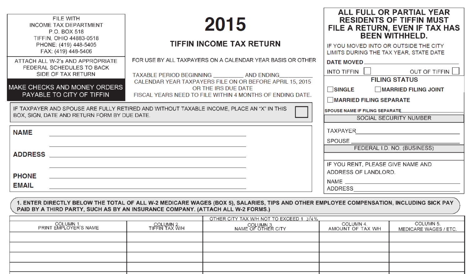 2015 City Income Tax Form   City of Tiffin