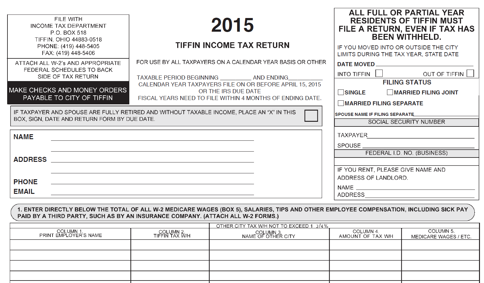2015 City Income Tax Form | City of Tiffin