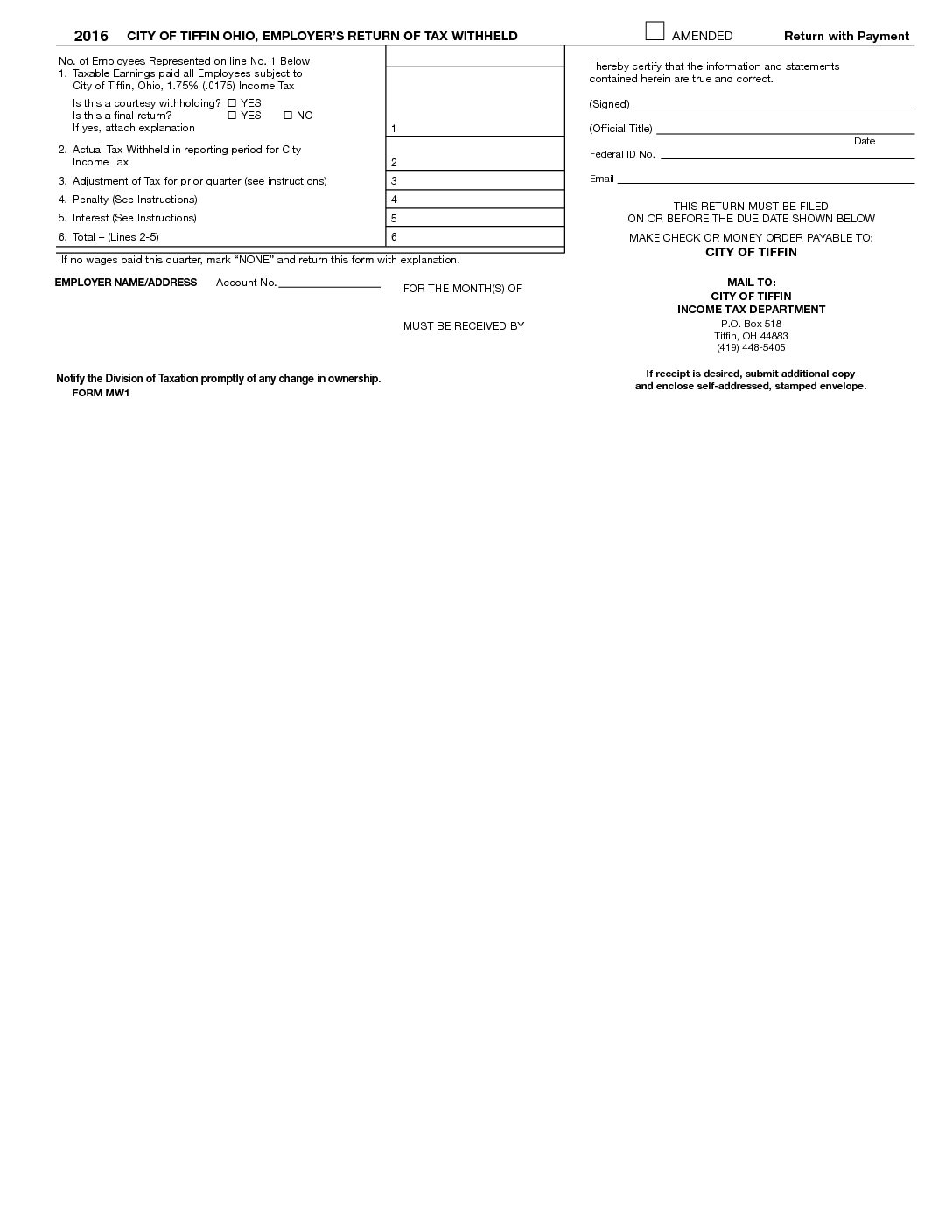 Tax Forms | City of Tiffin
