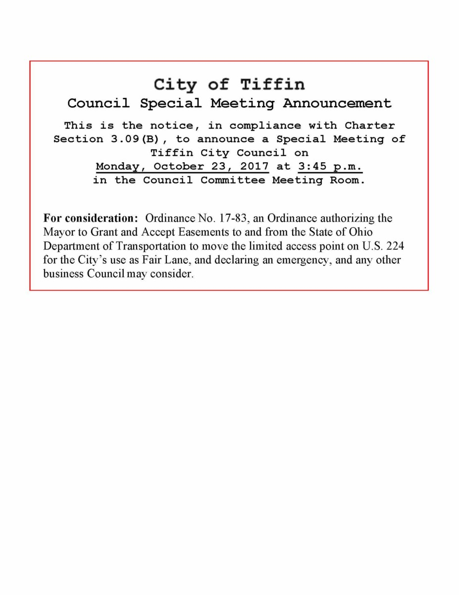 Special City Council Meeting 10/23 | City of Tiffin